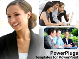 PowerPoint Template - Business workers get together.