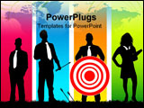 PowerPoint Template - Business people with a red target and arrows.