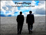 PowerPoint Template - two business men walking up the stairs