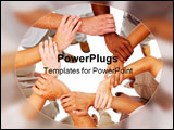 PowerPoint Template - Business people linking hands in teamwork together
