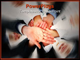 PowerPoint Template - Teamwork and team spirit - Hands piled on top of one another .