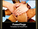 PowerPoint Template - teamwork hands together over a blue sky