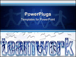 PowerPoint Template - Puzzle pieces team members inside word Teamwork.