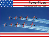 PowerPoint Template - five ex military naval jets flying in formation over blue sky