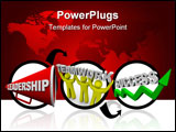 PowerPoint Template - eadership plus teamwork equals success symbolized by a megaphone people working together and a gree