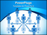 PowerPoint Template - 5. Teamwork Communication in blue. Rasterized vector.