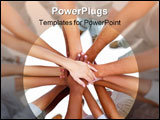 PowerPoint Template - Hands overlapped - showing a strong unity together