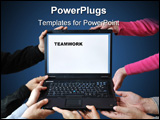 PowerPoint Template - Five people (pairs of hands) hold a notebook computer illustrating teamwork