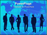 PowerPoint Template - teamwork on blue background with world map