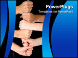 PowerPoint Template - Hands making a tower isolated over a white background