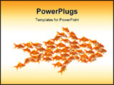 PowerPoint Template - business teamwork concept with goldfishes together in water