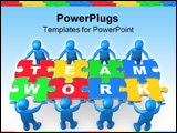 PowerPoint Template - 3d people holding pieces of a jigsaw puzzle with the word teamwork.