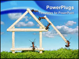 PowerPoint Template - team of ants constructing wooden house with matches