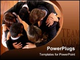 PowerPoint Template - business office teamwork - successful businessmen and businesswomen all together