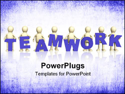 PowerPoint Template - Eight puppets with blue letters in hands. Object over white