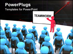 PowerPoint Template - Red character talking about teamwork. This is 3d render.