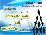 PowerPoint Template - ieces of paper each containing a word pinned to a cork board reading Teamwork Divides the Task and
