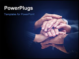 PowerPoint Template - Closeup of Successful business people with their hands together against a black background