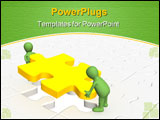 PowerPoint Template - 3d people - puppets installing yellow part puzzle
