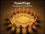 PowerPoint Template - The gold 3d people have surrounded and they reflet