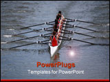 PowerPoint Template - A crew team in sync and working together to win the race