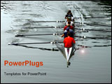 PowerPoint Template - crew rowing team in boat on river