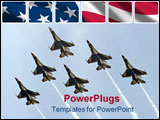 PowerPoint Template - six airforce thunderbirds in a delta formation