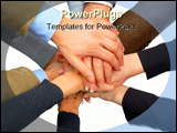 PowerPoint Template - A business team putting their hands together showing unity.