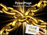 PowerPoint Template - golden chains kept toghether by a central chain element on a white background