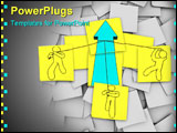 PowerPoint Template - A team pulls up a growth arrow in this episode of Sticky Note Theatre.
