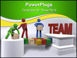 PowerPoint Template - A group of 3D figures engaging in team building