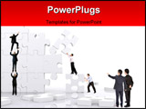 PowerPoint Template - business team work building a puzzle isolated over a white background