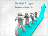 PowerPoint Template - A team works together to pull up a growth arrow