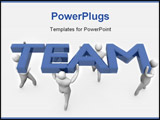 PowerPoint Template - Group of 3D men acting as team. High Resolution 3D render isolated on white.