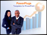 PowerPoint Template - African American team stands confidently over graph background.