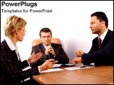 PowerPoint Template - Coworkers discuss a business plan.