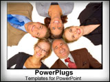 PowerPoint Template - A group of coworkers puts their heads together for some team thinking.