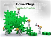 PowerPoint Template - Business team work building a puzzle. Building business concept. Isolated