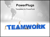 PowerPoint Template - Wooden mannequins posing in front of the word Teamwork