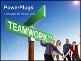 PowerPoint Template - A blank green street sign reading Teamwork