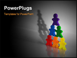 PowerPoint Template - usiness concepts illustrated with colorful wooden people - pyramid scheme, networking, teamwork, or