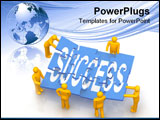 PowerPoint Template - 3d render of men assembling success puzzle