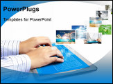 PowerPoint Template - touch tablet concept images streaming from the deep isolated on white background