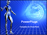 PowerPoint Template - 3d render and graphic - blue technical background. includes a clipping path