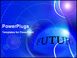 PowerPoint Template - blue abstract networking grid tube with illuminated wires presenting future