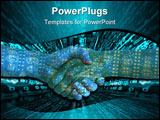 PowerPoint Template - Two hands shaking with a circuit board overlay, isolated on white.