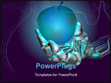 PowerPoint Template - robot hand holds neon apple symbolizing new technologies