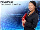 PowerPoint Template - African-American business woman over technological background