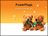 PowerPoint Template - Two funny toy bears sitting together over white
