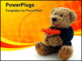 PowerPoint Template - Teddy Bear on the white background taken in my studio